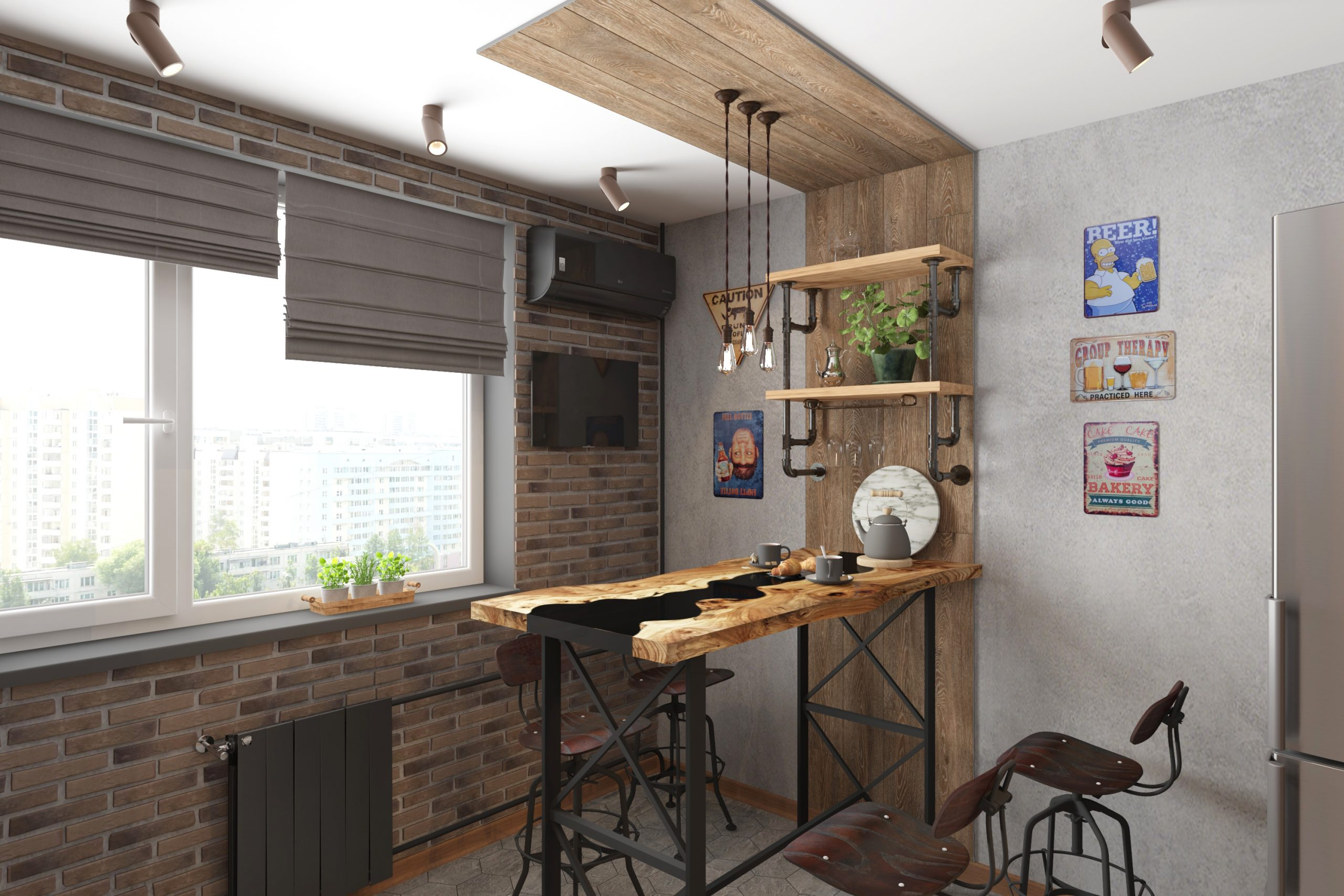 Дизайн проект трехкомнатной квартиры в стиле лофт